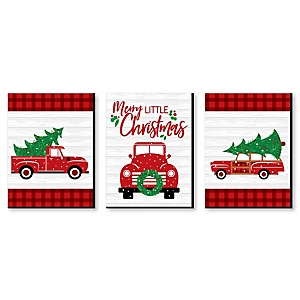 Merry Little Christmas Tree - Christmas Wall Art and Holiday Decorations - 7.5 x 10 inches - Set of 3 Prints