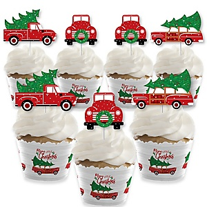 Merry Little Christmas Tree - Cupcake Decoration - Red Truck and Car Christmas Party Cupcake Wrappers and Treat Picks Kit - Set of 24