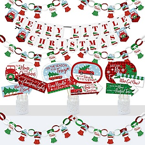 Merry Little Christmas Tree - Banner and Photo Booth Decorations - Red Truck and Car Christmas Party Supplies Kit - Doterrific Bundle