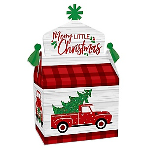 Merry Little Christmas Tree - Treat Box Party Favors - Red Truck Christmas Party Goodie Gable Boxes - Set of 12