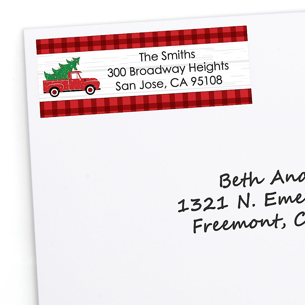 Christmas Return Address Labels.Merry Little Christmas Tree Personalized Red Truck Christmas Party Return Address Labels 30 Ct