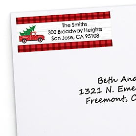 Merry Little Christmas Tree - Personalized Red Truck Christmas Party Return Address Labels - 30 ct