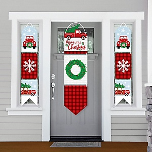 Merry Little Christmas Tree - Hanging Porch Front Door Signs - Red Truck and Car Christmas Party Banner Decoration Kit - Outdoor Door Decor
