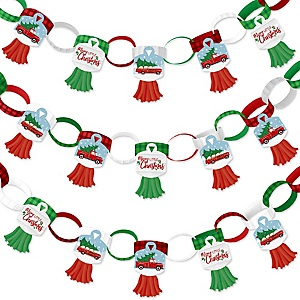 Merry Little Christmas Tree - 90 Chain Links and 30 Paper Tassels Decoration Kit - Red Truck and Car Christmas Party Paper Chains Garland - 21 feet