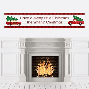 Merry Little Christmas Tree - Personalized Red Truck and Car Christmas Party Banner