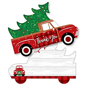 Merry Little Christmas Tree - Shaped Thank You Cards - Red Truck Christmas Party Thank You Note Cards with Envelopes - Set of 12