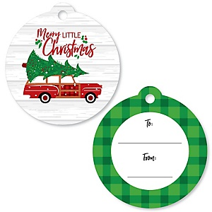Merry Little Christmas Tree - Red Car Christmas To and From Favor Gift Tags - Set of 20