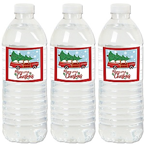 Merry Little Christmas Tree - Red Car Christmas Party  Water Bottle Sticker Labels - Set of 20