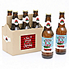 Merry Little Christmas Tree - 6 Red Truck and Car Christmas Party Beer Bottle Label Stickers and 1 Carrier