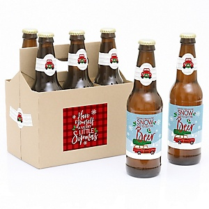 Merry Little Christmas Tree - Decorations for Women and Men - 6 Red Truck and Car Christmas Party Beer Bottle Label Stickers and 1 Carrier