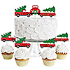 Merry Little Christmas Tree - Dessert Cupcake Toppers - Red Truck and Car Christmas Party Clear Treat Picks - Set of 24