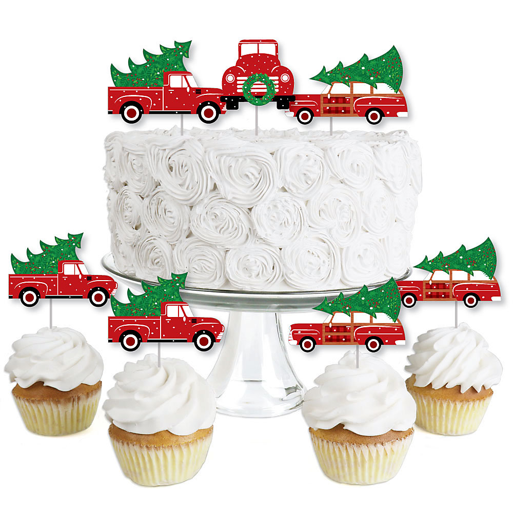 Car Christmas Tree Topper.Merry Little Christmas Tree Dessert Cupcake Toppers Red Truck And Car Christmas Party Clear Treat Picks Set Of 24