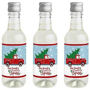 Merry Little Christmas Tree - Mini Wine and Champagne Bottle Label Stickers - Red Truck and Car Christmas Party Favor Gift - For Women and Men - Set of 16