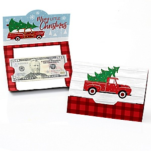 Merry Little Christmas Tree - Red Truck and Car Christmas Party Money And Gift Card Holders - Set of 8