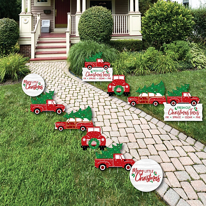 Merry Little Christmas Tree - Cactus Lawn Decorations - Outdoor Red Truck and Car Christmas Party Yard Decorations - 10 Piece