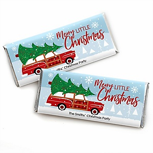 Merry Little Christmas Tree - Personalized Candy Bar Wrapper Red Truck and Car Christmas Party Favors - Set of 24