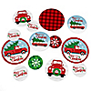 Merry Little Christmas Tree - Red Truck and Car Christmas Party Giant Circle Confetti - Party Decorations - Large Confetti 27 Count
