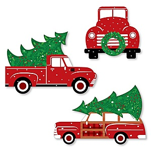 Merry Little Christmas Tree - DIY Shaped Red Truck and Car Christmas Party Paper Cut-Outs - 24 ct