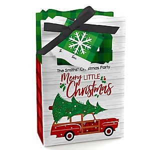 Merry Little Christmas Tree – Personalized Red Truck and Car Christmas Party Favor Boxes - Set of 12