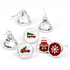 Merry Little Christmas Tree - Round Candy Labels Red Truck and Car Christmas Party Favors - Fits Hershey's Kisses - 108 ct