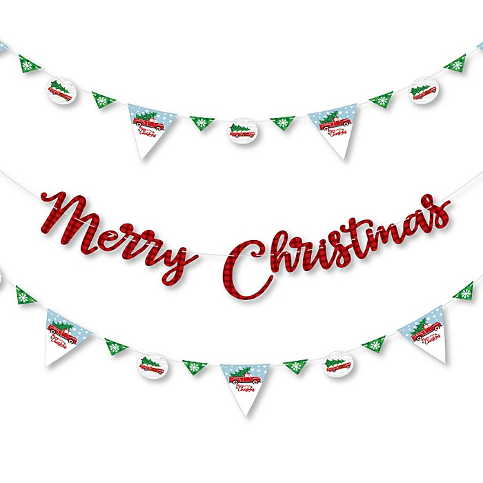 Merry Little Christmas Tree - Red Truck and Car Christmas Party Letter Banner Decoration - 36 Banner Cutouts and Merry Christmas Banner Letters