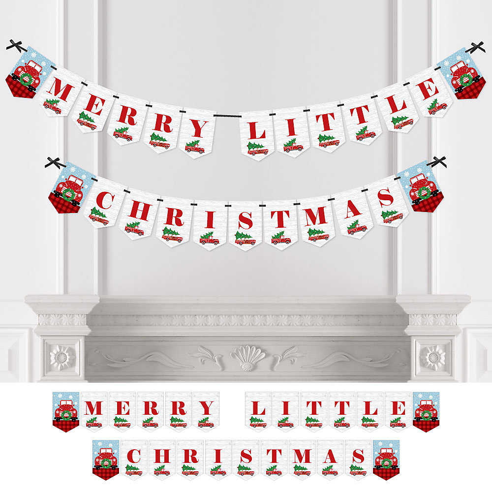 When Is Little Christmas.Merry Little Christmas Tree Personalized Red Truck And Car Christmas Party Bunting Banner Decorations