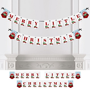 Merry Little Christmas Tree - Personalized Red Truck and Car Christmas Party Bunting Banner & Decorations
