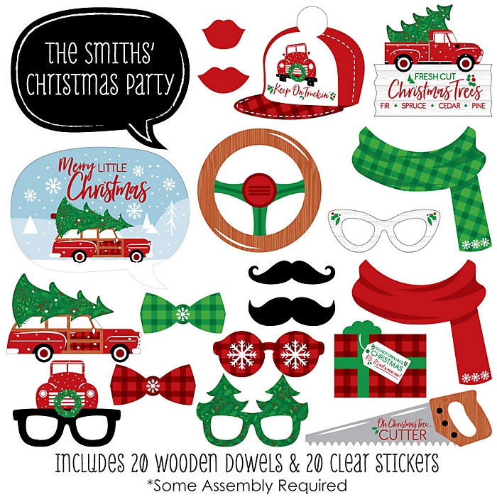 Merry Little Christmas Tree - 20 Piece Red Truck and Car Christmas Party Photo Booth Props Kit