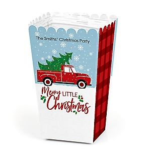 Merry Little Christmas Tree - Personalized Red Truck and Car Christmas Party Popcorn Favor Treat Boxes - Set of 12