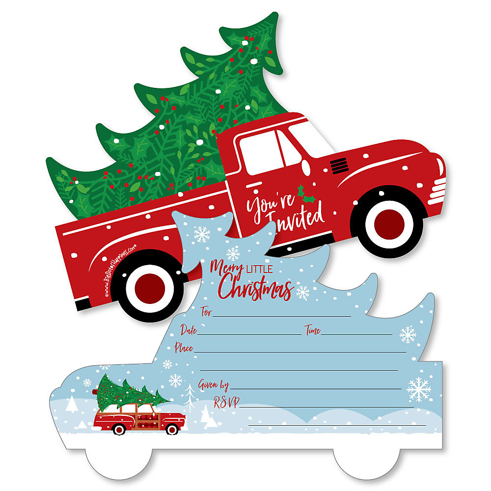 Merry Little Christmas Tree Shaped Fill In Invitations Red Truck And Car Christmas Party Invitation Cards With Envelopes Set Of 12