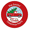 Merry Little Christmas Tree - Personalized Red Truck and Car Christmas Party Sticker Labels - 24 ct