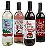Merry Little Christmas Tree - Red Truck and Car Christmas Party Wine Bottle Label Stickers - Set of 4
