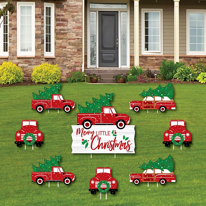 Merry Little Christmas Tree - Yard Sign & Outdoor Lawn Decorations - Christams Cactus Party Yard Signs - Set of 8