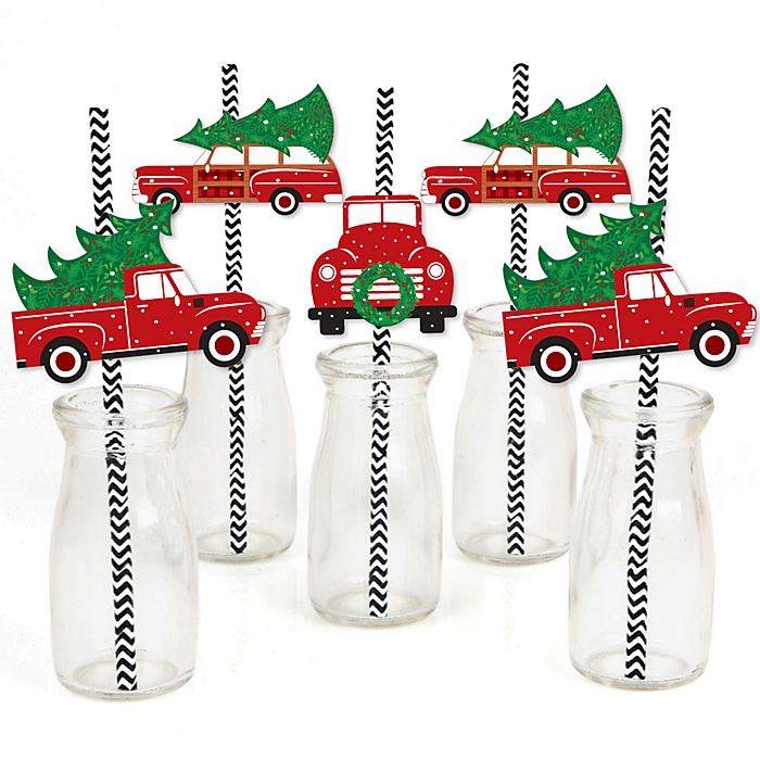 Merry Little Christmas Tree - Paper Straw Decor - Red Truck and Car Christmas Party Striped Decorative Straws - Set of 24