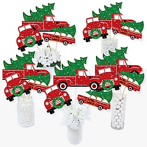 Merry Little Christmas Tree - Red Truck and Car Christmas Party Centerpiece Sticks - Table Toppers - Set of 15