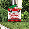 Merry Little Christmas Tree - Party Decorations - Red Truck and Car Christmas Party Personalized Welcome Yard Sign