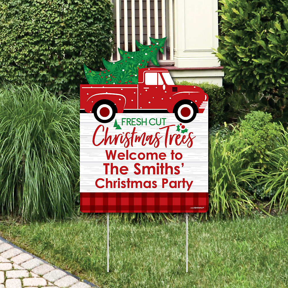 Merry Little Christmas Tree Party Decorations Red Truck And Car Personalized Welcome Yard Sign