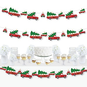 Merry Little Christmas Tree - Red Truck and Car Christmas Party DIY Decorations - Clothespin Garland Banner - 44 Pieces