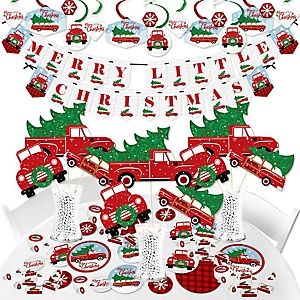 Merry Little Christmas Tree - Red Truck and Car Christmas Party Supplies - Banner Decoration Kit - Fundle Bundle