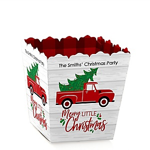 Merry Little Christmas Tree - Party Mini Favor Boxes - Personalized Red Truck and Car Christmas Party Treat Candy Boxes - Set of 12