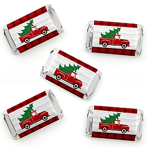Merry Little Christmas Tree - Mini Candy Bar Wrapper Stickers - Red Truck Christmas Party Small Favors - 40 Count