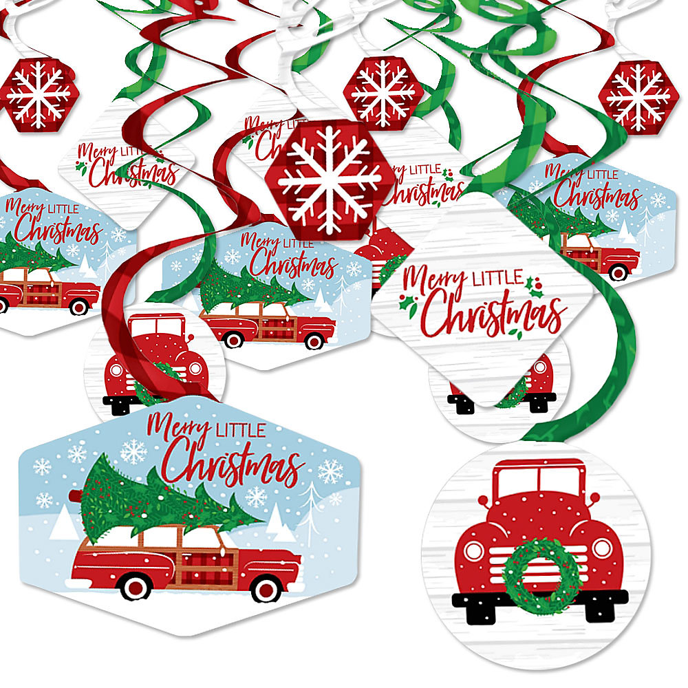 When Is Little Christmas.Merry Little Christmas Tree Red Truck And Car Christmas Party Hanging Decor Party Decoration Swirls Set Of 40