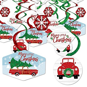Merry Little Christmas Tree - Red Truck and Car Christmas Party Hanging Decor - Party Decoration Swirls - Set of 40