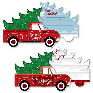 Merry Little Christmas Tree - 20 Shaped Fill-In Invitations and 20 Shaped Thank You Cards Kit - Red Truck and Car Christmas Party Stationery Kit - 40 Pack