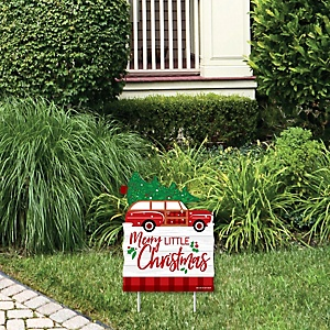 Merry Little Christmas Tree - Outdoor Lawn Sign - Red Car Christmas Party Yard Sign - 1 Piece