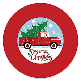 Merry Little Christmas Tree - Red Truck and Car Christmas Party Theme