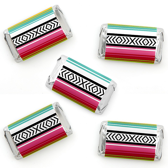 Let's Fiesta - Mini Candy Bar Wrapper Stickers - Mexican Fiesta Small Favors - 40 Count