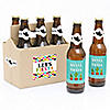 Let's Fiesta - Personalized Mexican Fiesta - 6 Beer Bottle Label Stickers and 1 Carrier