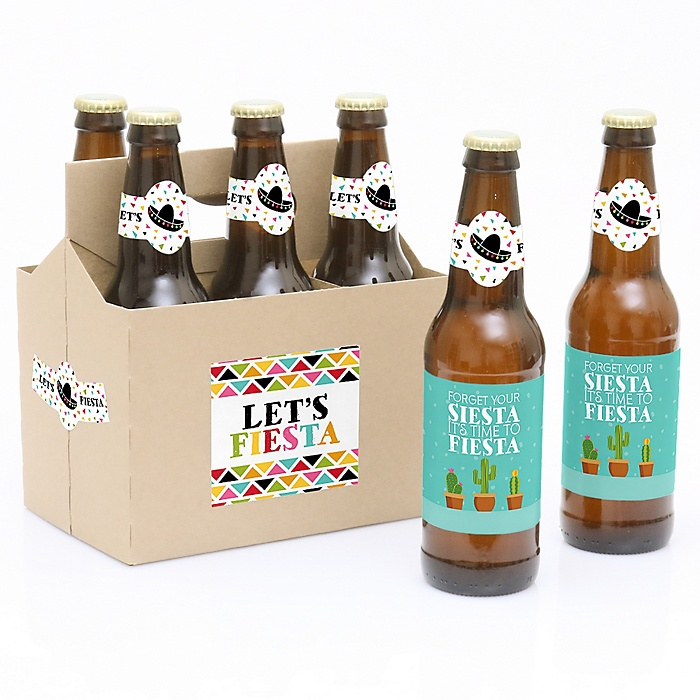 Let's Fiesta - Mexican Fiesta - Decorations for Women and Men - 6 Beer Bottle Label Stickers and 1 Carrier