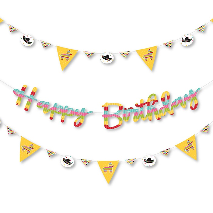 Let's Fiesta - Mexican Fiesta Birthday Party Letter Banner Decoration - 36 Banner Cutouts and Happy Birthday Banner Letters